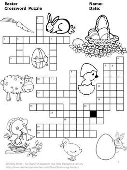 Easter Crossword Puzzle Secular Literacy Homework
