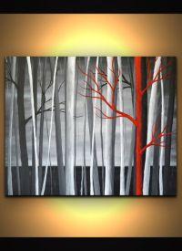 Black white red landscape original artwork canvas wall art ...