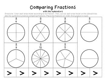 Fractions, Cut and paste and Comparing fractions on Pinterest