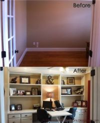 home office with built ins and cabinets - add baskets ...