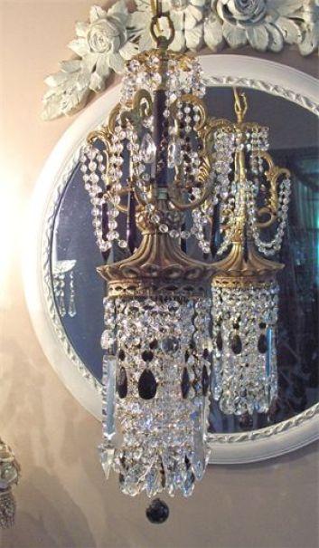 Victorian Brass and Black Pendant Chandelier: