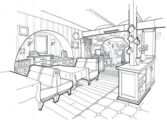 Restaurants and cafes interior sketches by Belenko Design