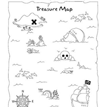 Treasure Map Coloring Page and Activity. Can use as