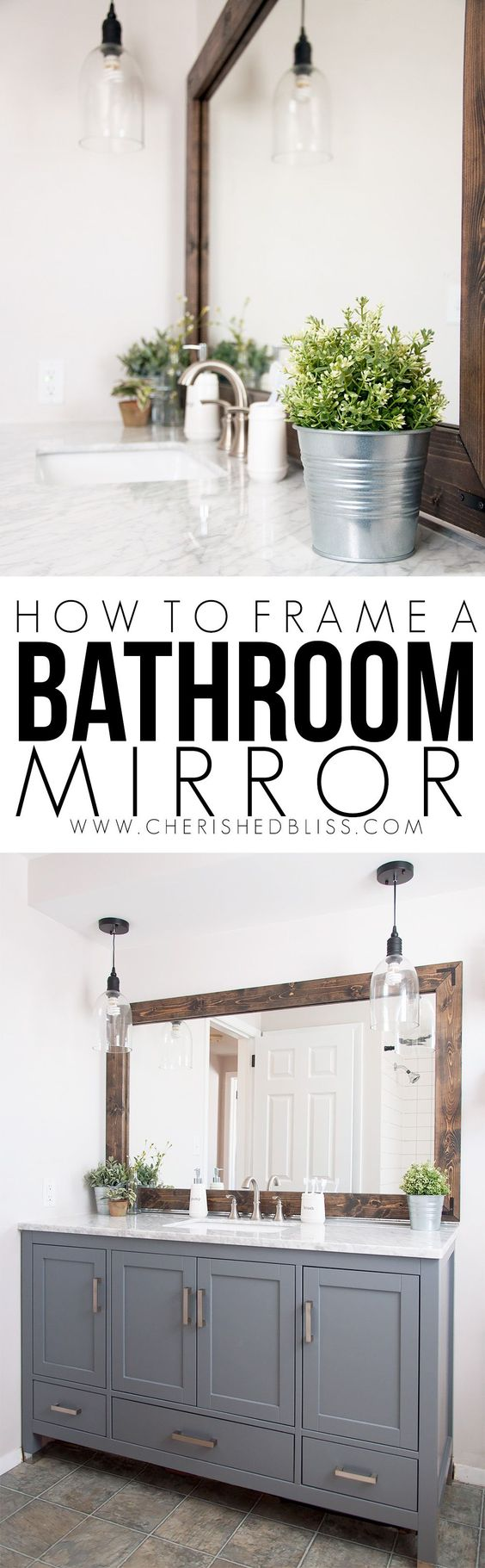 Improve the value of your bathroom with this easy tutorial on How to Frame a Bathroom Mirror!: