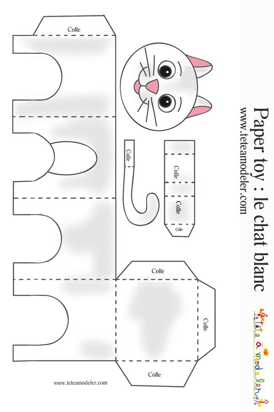 Paper toys, White cats and Cats on Pinterest
