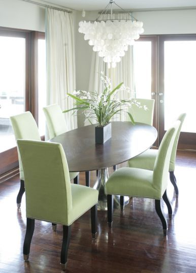Gray walls white chandy Walnut table and floors and