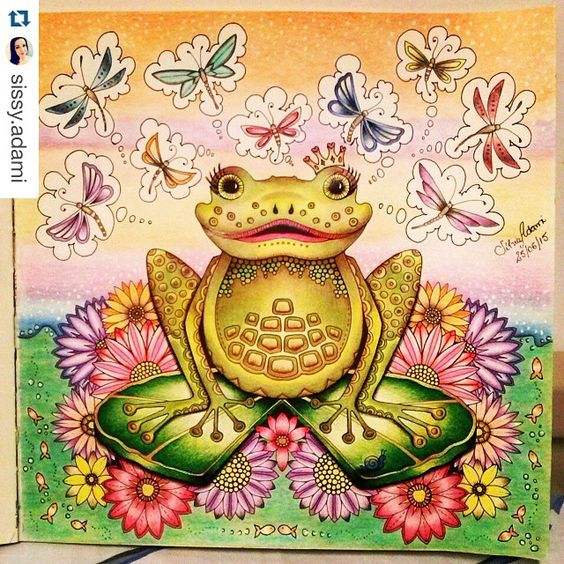 frog from enchanted forest colouring book  coloring book