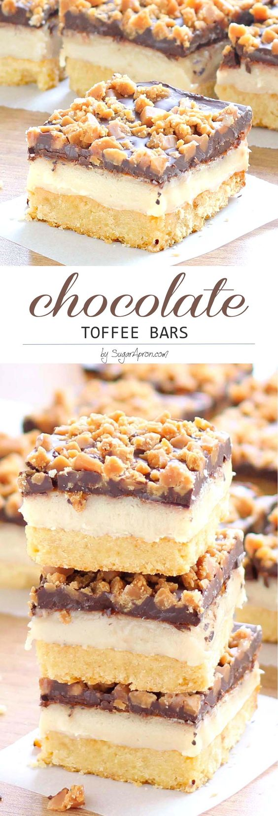 Chocolate Toffee Bars Dessert Recipe via Sugar Apron - Make these chocolate toffee bars for your next party and you'll be invited back! The sweetened condensed milk and chocolate toffee bits flavor combination makes this the perfect sweet treat.