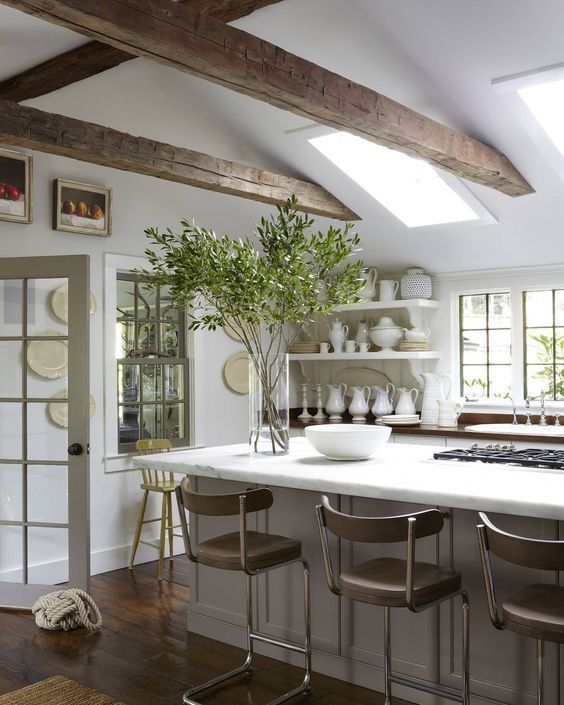 Rustic kitchen with island countertop overhang:
