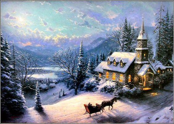 Thomas Kinkade Sleigh Rides And Church On Pinterest