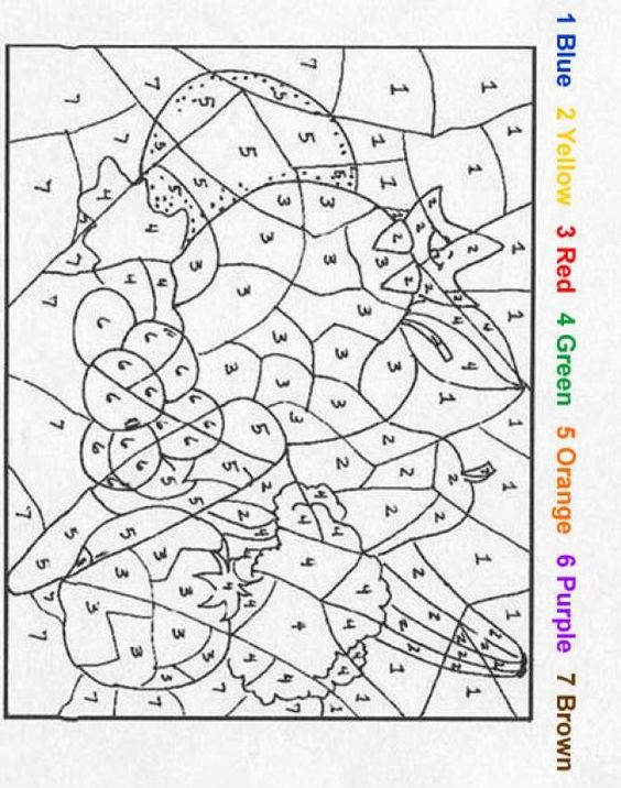 Fruit Color by number coloring page 1950s decades week