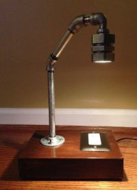 Industrial Rustic Pipe Lamp with USB and by ...