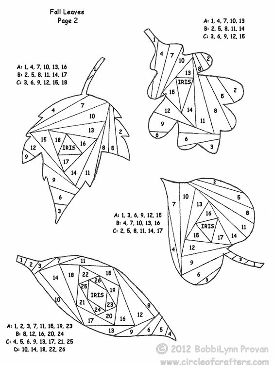 free printable iris folding patterns, iris folding leaves