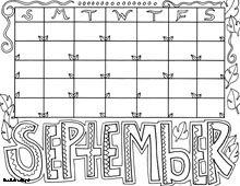 Monthly calendars, Pages to color and September on Pinterest
