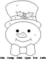 Color by numbers, Snowman and Numbers on Pinterest