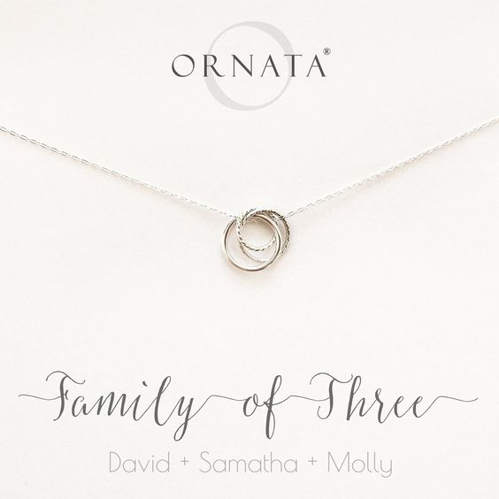 """""""Family of Three"""" Interlocking Sterling Silver Necklace on"""