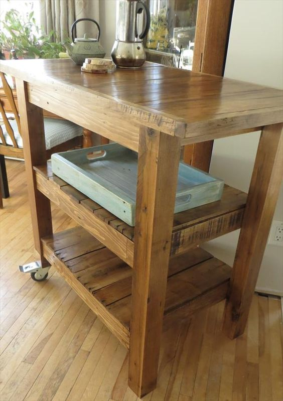 DIY Pallet Made #Kitchen Island Table