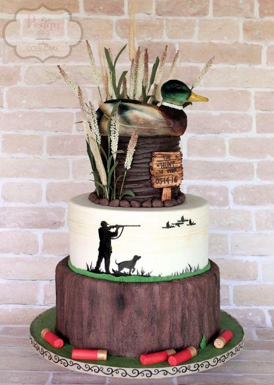 Peggy Does Cake Brandon Mississippi  Mallard duck grooms cake  Hunting cake  Shotgun shells
