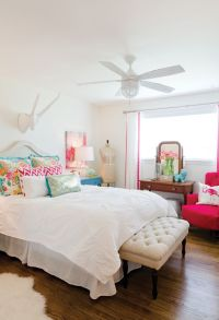 White bedroom with pops of color. | Bed + Bath | Pinterest ...