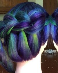 Green purple braided dyed hair @jennifer.malloy ...