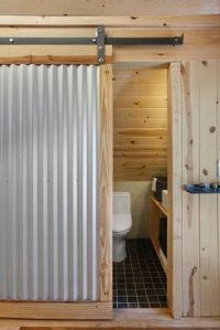 Corrugated Metal Wall Design bathroom | Loft | Pinterest ...