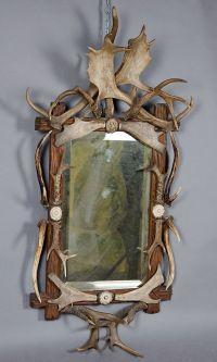 large black forest antler mirror ca. 1910 | take a look in ...