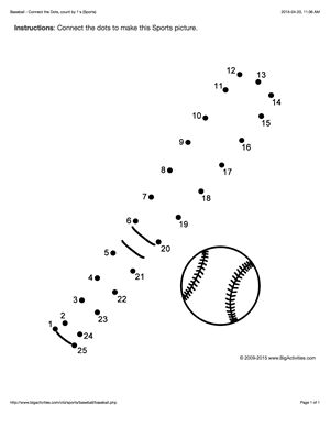 Sports connect the dots page featuring a baseball bat and