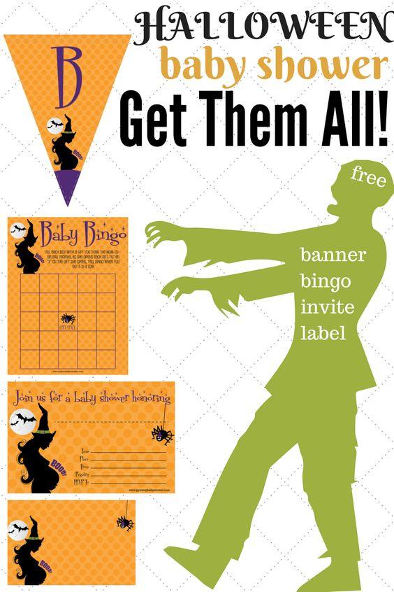 Halloween Baby Shower Decorations : halloween, shower, decorations, Halloween, Shower, Invitations,, Games, Decorations, Print