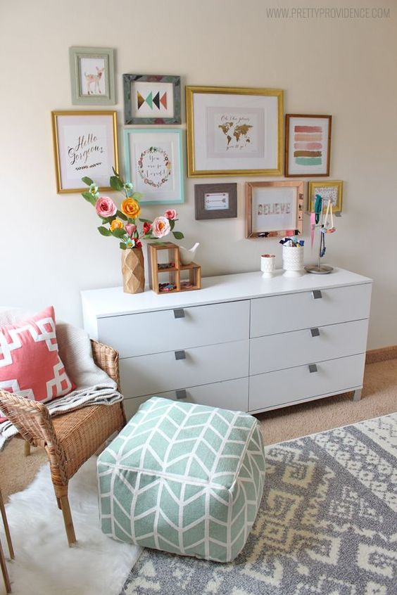 I am obsessed with this whimsical eclectic little girls room! Sweet, bright, and not at all predictable!: