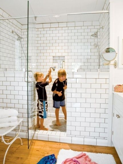 Half Walls Large Shower And Subway Tiles On Pinterest