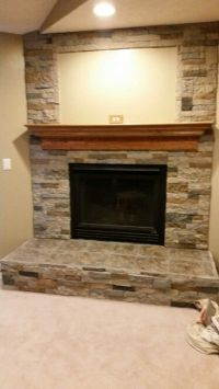 Finished! Airstone and ceramic tile fireplace