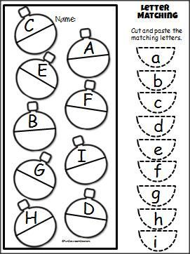 Christmas Uppercase Lowercase Cut and Paste Activity for