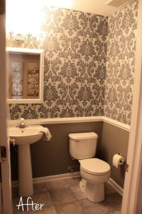 small downstairs bathroom - like the wallpaper and chair ...