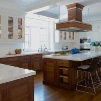 natural wood lower cabinets and white upper cabinets ...