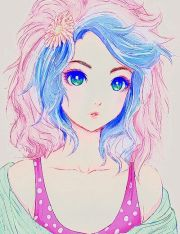anime girl with pink and blue hair