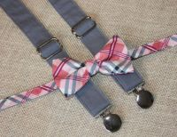 Pink and Gray Plaid Bow Tie and Dark Gray Suspenders set ...