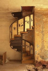 spiral staircase found in an abandoned mansion ...