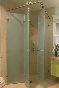 Foldaway Shower Stall. Wide-Open Baths for Small Spaces ...