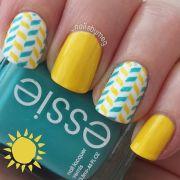 yellow nails. essie. nail art