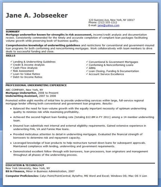 loan underwriter resumes