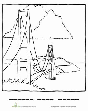 Coloring pages, Golden gate bridge and Gates on Pinterest
