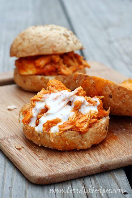 Slow Cooker Shredded Buffalo Chicken Sandwiches on MyRecipeMagic.com:
