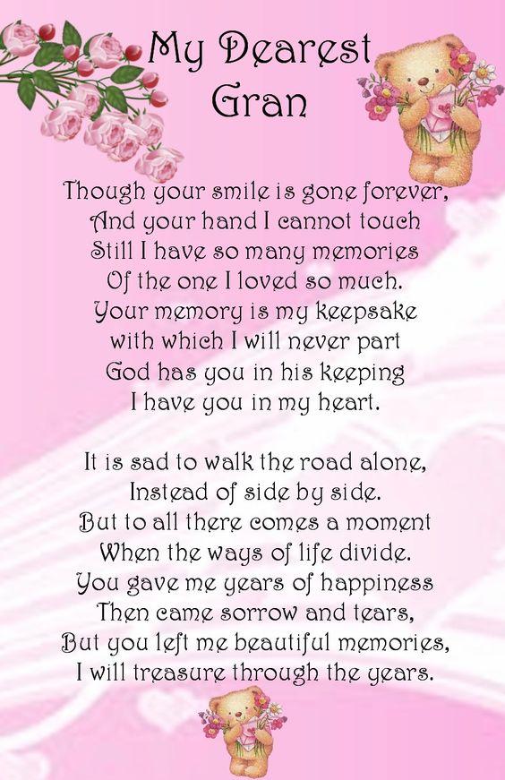 Gran Graveside Memory Card Memorial Pinterest