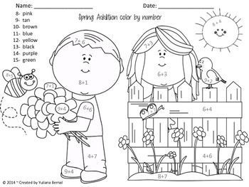 Addition: {Spring Time} Color by Number Sheet. Free! In
