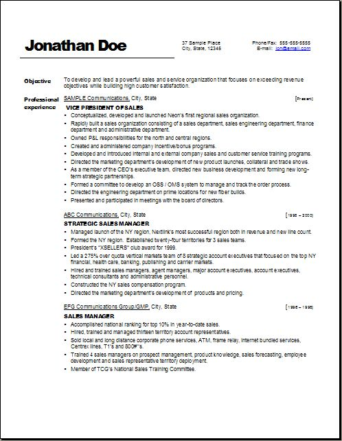 Resume Vp Sales