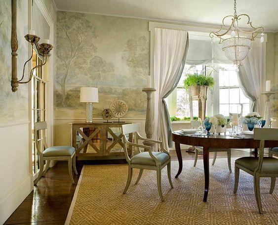 Elegant Formal Dining Room Wall Murals Design Ideas