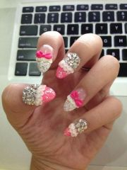 rhinestone and bows nails