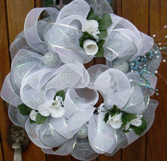 GORGEOUS Church Door White Mesh Wedding Wreath Wreaths