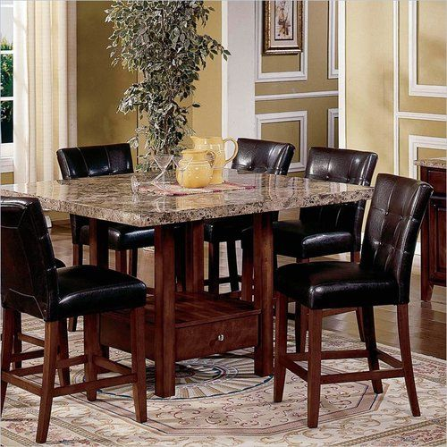 5 Piece Kitchen Dining Set Square Marble Top Counter