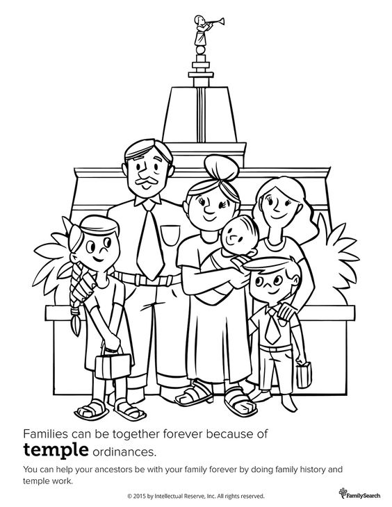 Family at the temple. Primary coloring page for kids. #LDS